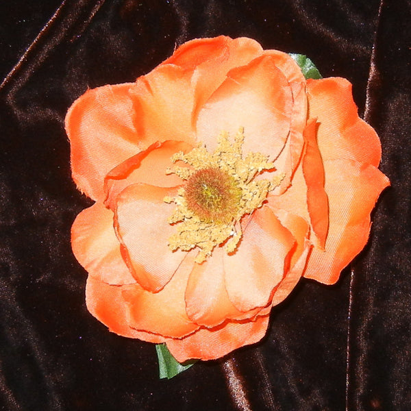 Magnolia Orange Floral Barrette