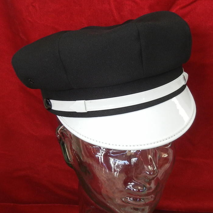 Motorcycle Cap Black with ALL White Brim