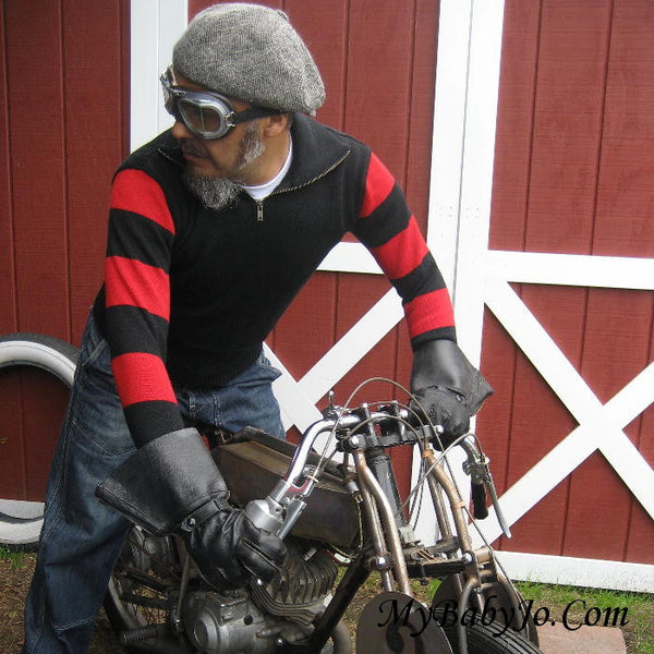 Vintage Motorcycle Racing Sweater Black Red Stripe