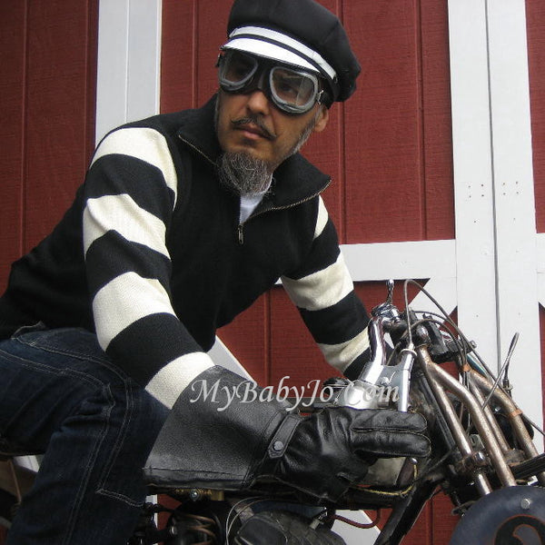 Vintage Motorcycle Racing Sweater Black White Stripe