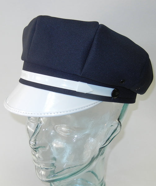 Motorcycle Cap Navyl Blue with White Brim