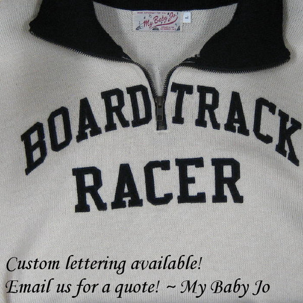 Vintage Motorcycle Racing Sweater Black Cream