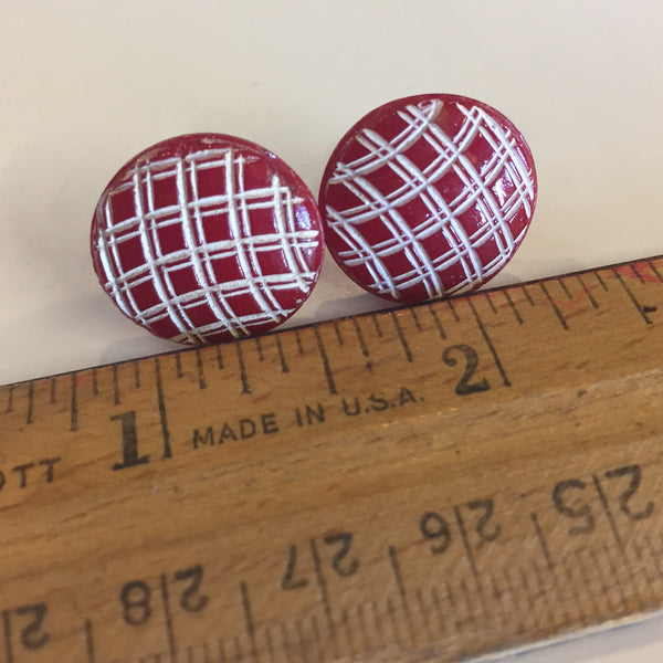 Red Weave Vintage Button Earrings