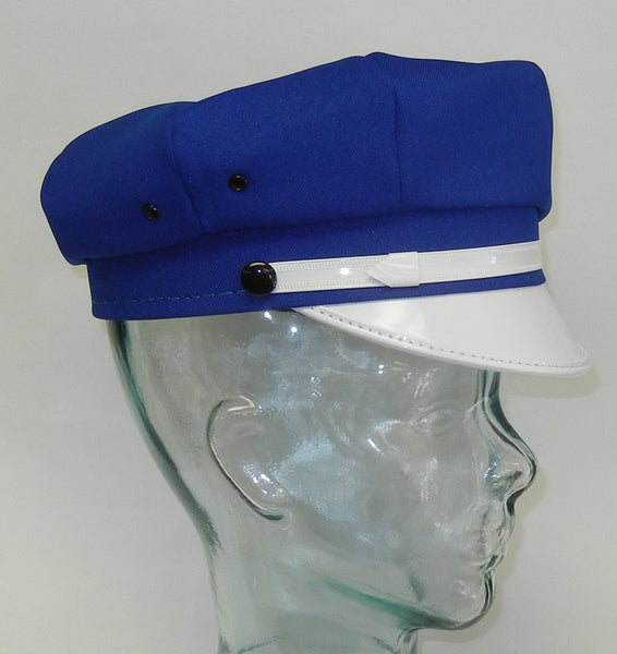 Motorcycle Cap Royal Blue with White Brim