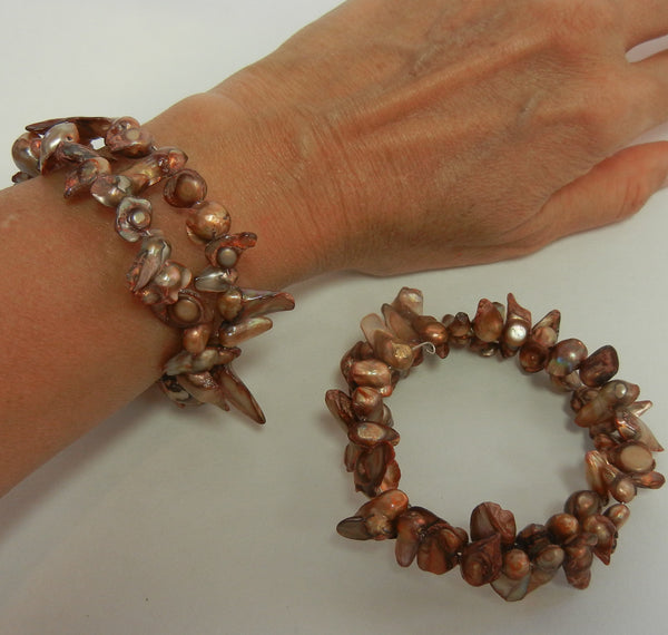 Cultured Pearl Tan Sand Bracelet