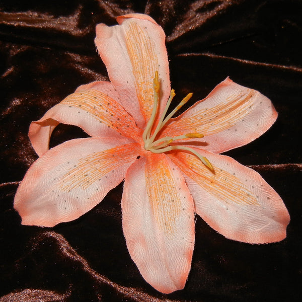 Tropical Peach Lily Floral Barrette