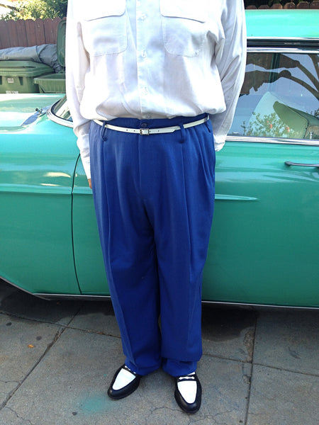 Double Pleated Blue Trouser