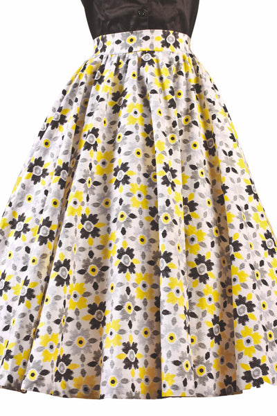 Whirl Away Circle Skirt Yellow Black Flowers