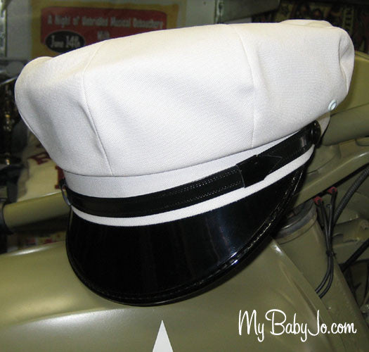 Motorcycle Cap White with Black Brim