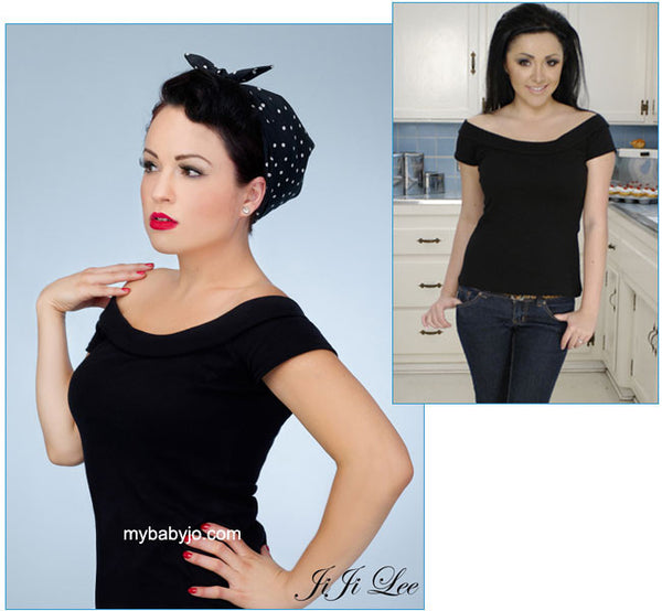 Marilyn Off the Shoulder Top Black Clearance