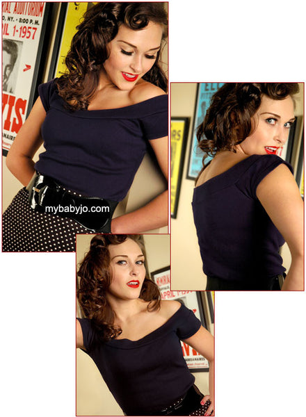 Marilyn Off the Shoulder Top Navy Blue Clearance