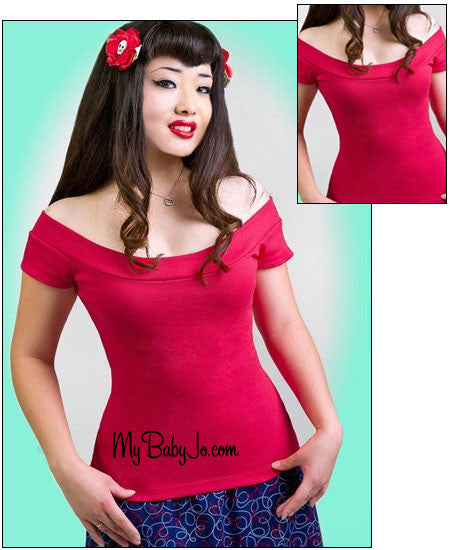 Marilyn Off the Shoulder Top Red Clearance