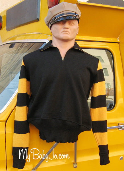 Vintage Motorcycle Racing Sweater Black Yellow