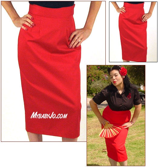 Heartbreaker Pencil Skirt Red Clearance