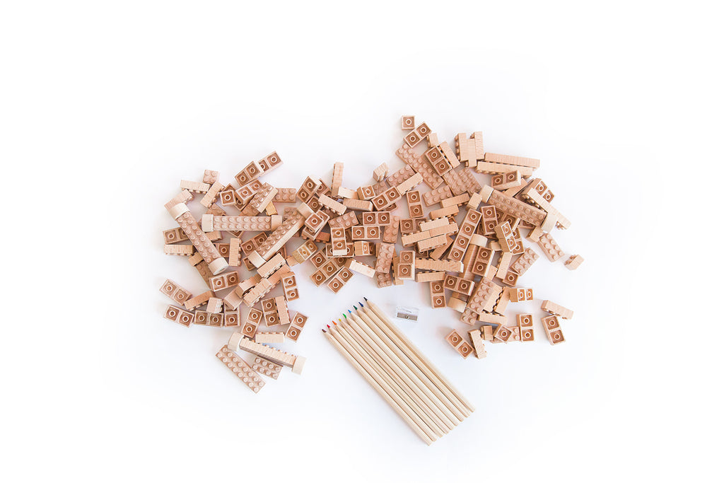 wood construction toy blocks compatible with plastic