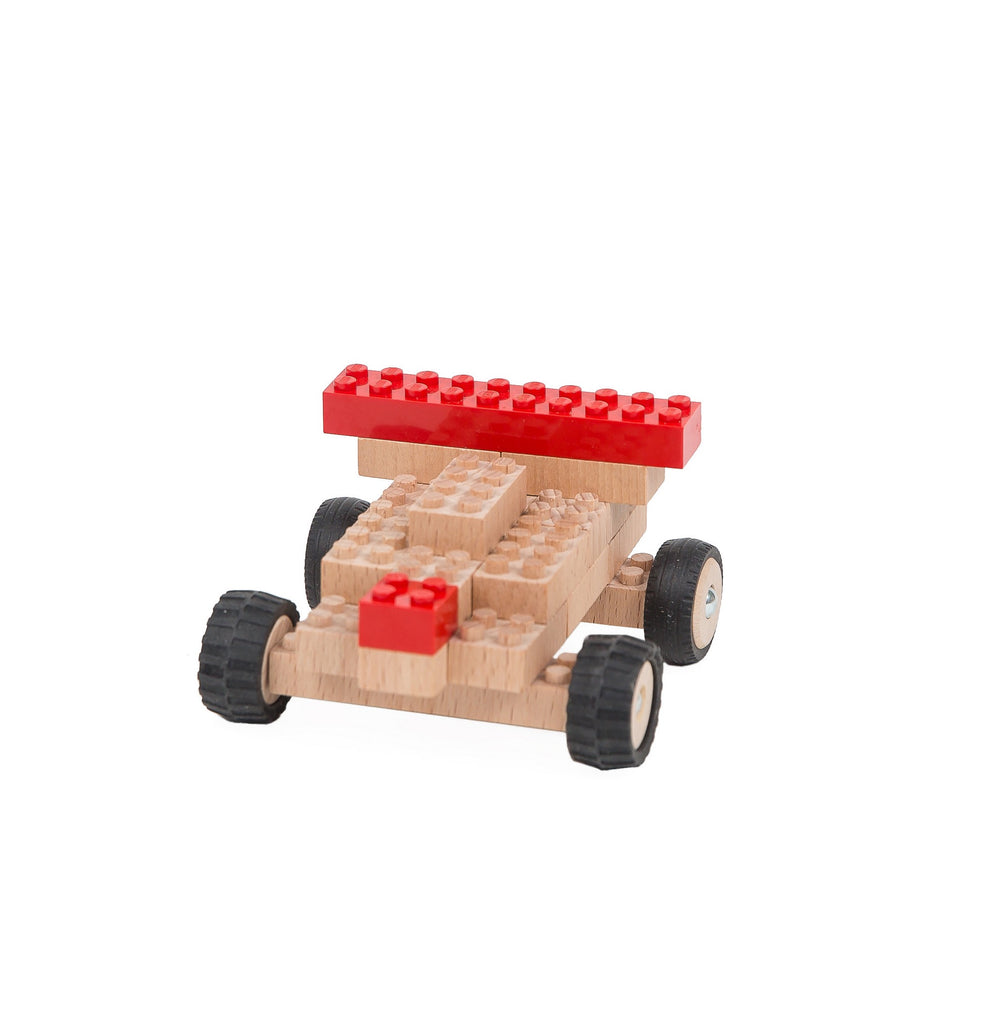 Eco-bricks™ wooden toy race car build set