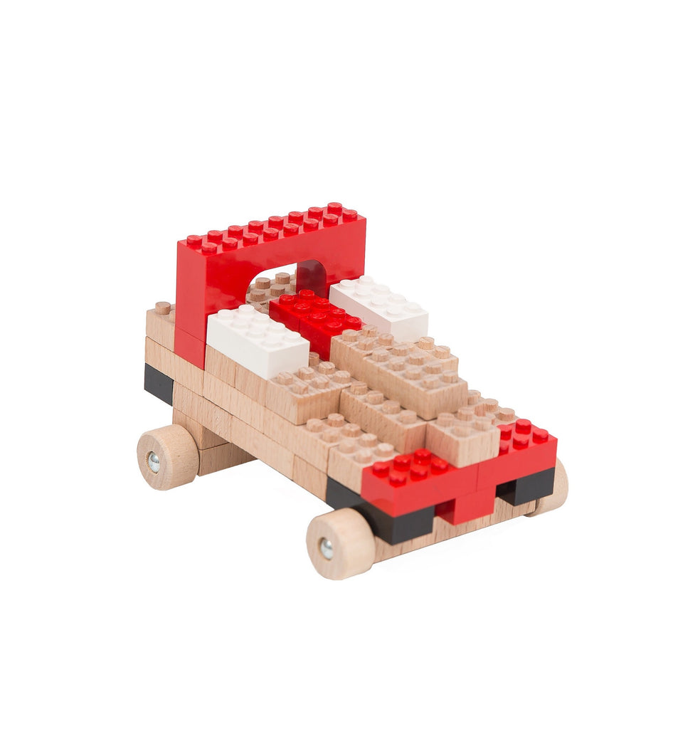 Eco-bricks™ wooden toy car build set