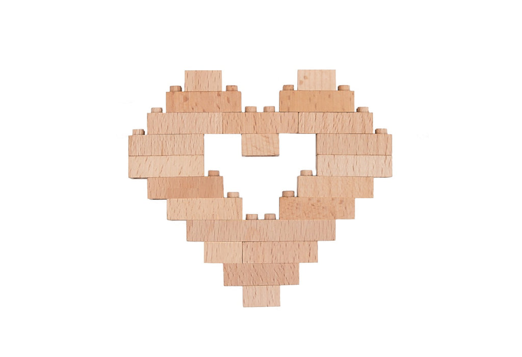 Eco-bricks™ interlocking wooden blocks heart shaped build set