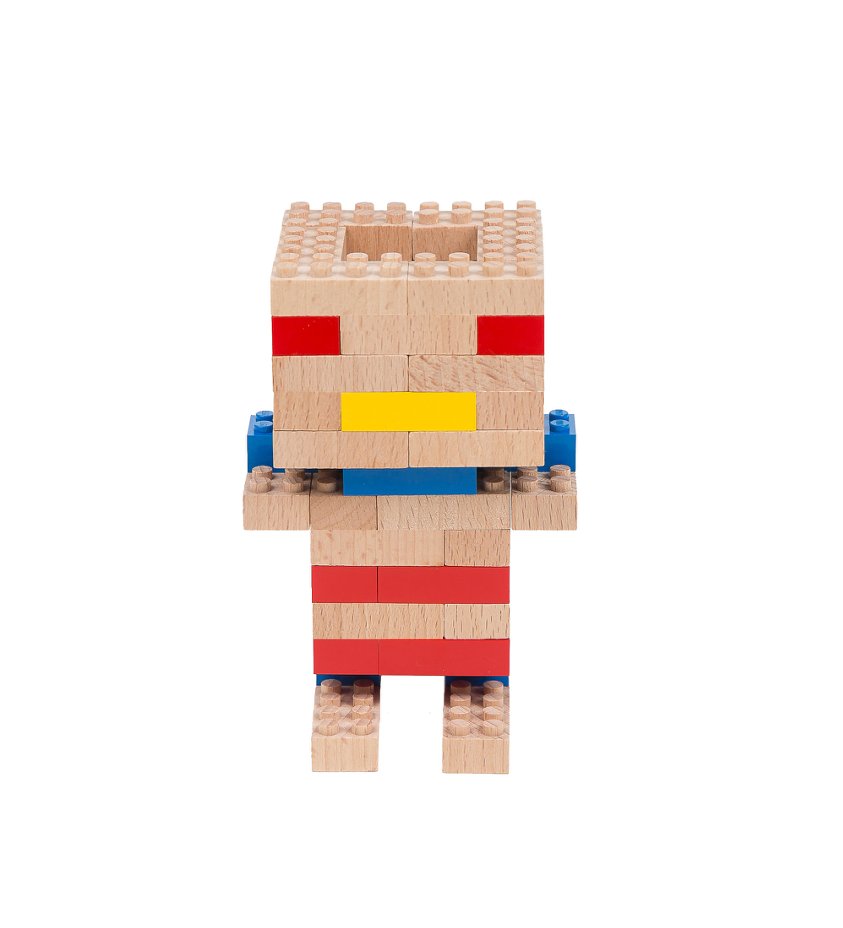 Eco-bricks™ wooden block idol build set