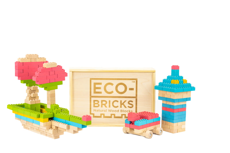 ecobricks color 206 pcs large wooden box build sets
