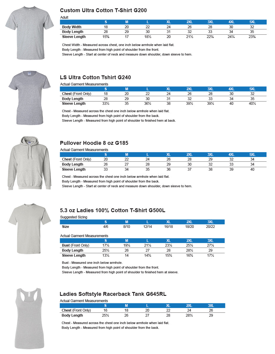 Thin Blue Line Shop Apparel Sizing Chart