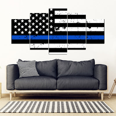 Thin Blue American Flag - 5 Piece Framed Canvas