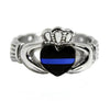 Thin Blue Line Stainless Steel Ring with Celtic Rope Design