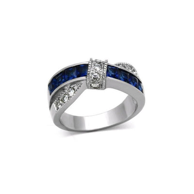 Gorgeous White Gold Plated Tigrade Blue Line Princess Sapphire Simulated Ring