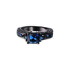 Deep Blue Sapphire Ring - Plated in Black Gold