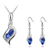 Crystal Blue Drop Necklace and Earrings Set