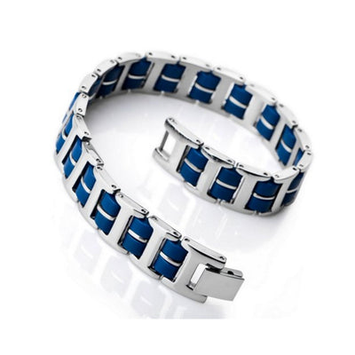 Polished Thin Blue Stainless Steel and Rubber Bracelet