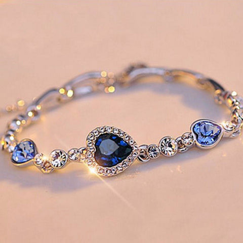 The Virtuous Blue Heart Link Bracelet