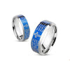 Thin Blue Line Lord's Prayer Blue IP Beveled Edge Stainless Steel Ring