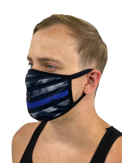 Thin Blue Line American Flag Mask with Filter Pocket