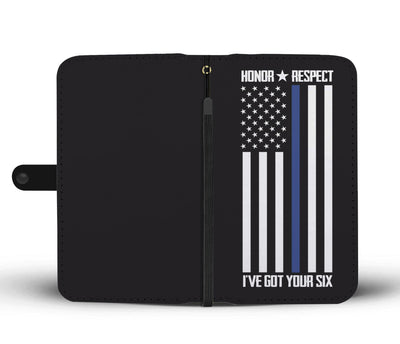 Honor & Respect Thin Blue Line Flag Phone Case Wallet