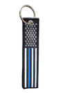 "Embroidered Thin Blue Line American Flag Keychain (size: 5"" x 1"")"