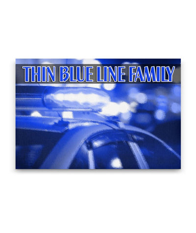 Thin Blue Line Family Canvas Wall Art