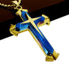 Blue and Gold Stainless Steel Cross Pendant Necklace