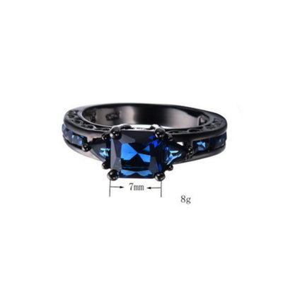 ***Limited Edition*** Deep Blue Sapphire Ring - Plated in Black Gold