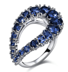 Unique Custom Design Thin Blue Line Sapphire CZ Ring