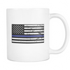 Thin Blue Line American Flag Mug - White