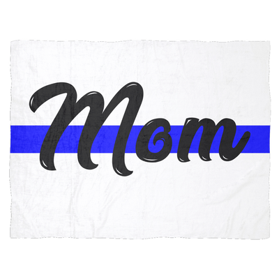 Mom - Thin Blue Line Blanket - White