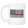 The Blue and Red Line American Flag Mug - White