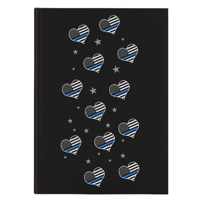 Thin Blue Line Flags Hearts Journal Notebook - Hardcover