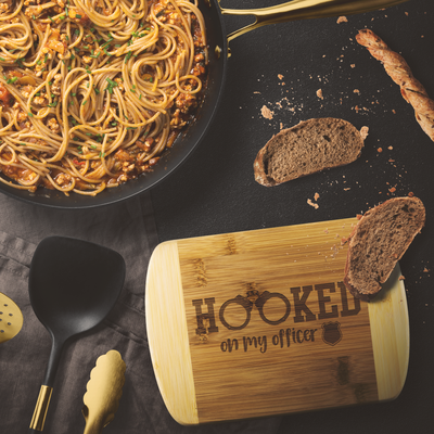 Hooked on my Police Officer Round Edge Chopping Board