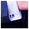 Deep Blue Line Rhodium Plated Cuff Links