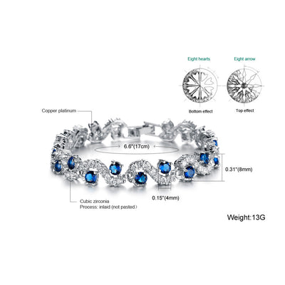 Luxury Platinum Plated Blue Crystal Stone Bracelet