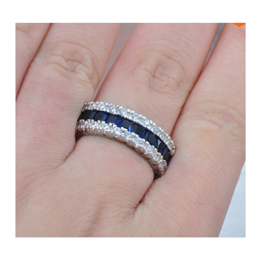 Stunning 10Kt White Gold Filled Diamond Simulated Sapphire Ring ...