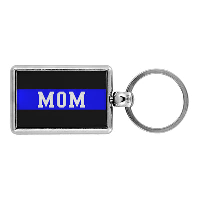 Thin Blue Line Mom Retired Keychain