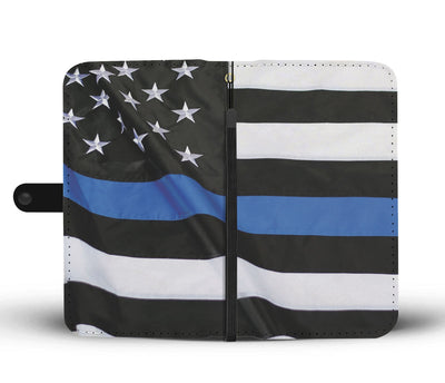 Flying Thin Blue Line American Flag Phone Case Wallet